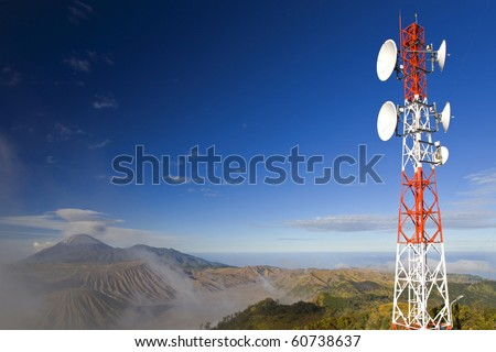 Telecommunication Antenna on Background of Mt.Blomo - stock photo