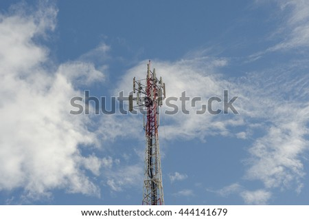Telecommunication  antenna with blue sky