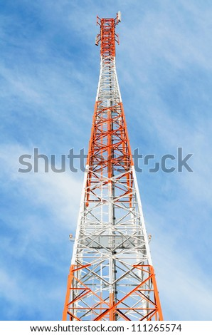 Telecommunication, Broadcasting tower with cloudy sky