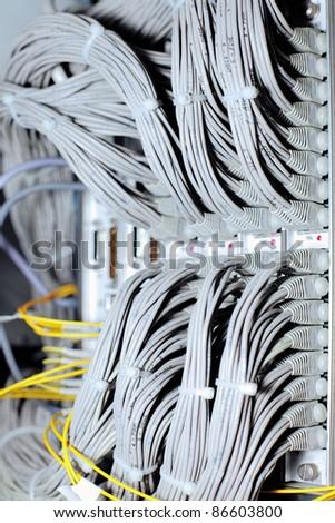 Telecommunication E1 line in a datacenter mobile operator. - stock photo