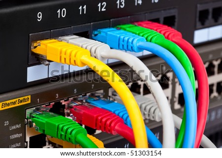 Telecommunication equipment in data center server room - stock photo