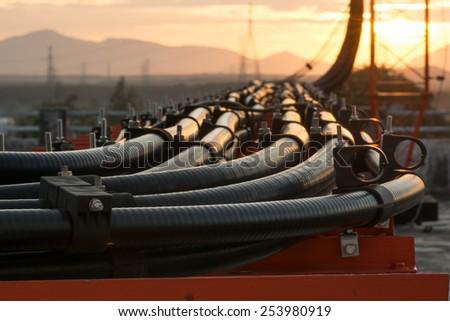 Telecommunication line connection  - stock photo