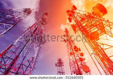 Telecommunication mast TV antennas wireless technology with blue - stock photo