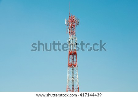 TELECOMMUNICATION MAST WITH BLUE SKY, SELECTIVE FOCUS, BLANK COPY-SPACE - stock photo