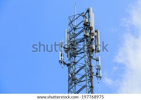 Telecommunication Radio Antenna and Satelite Tower with blue sky - stock photo