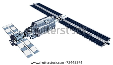 Telecommunication Satellite flying with solar panels reflecting Earth in mirror and isolation path included in illustration - stock photo