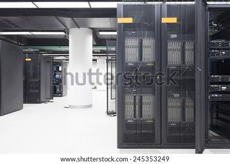 telecommunication server in data center - stock photo