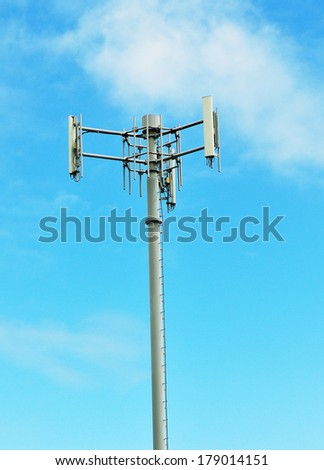 telecommunication tower - antenna cellular communication electronic industry signal steel network - stock photo