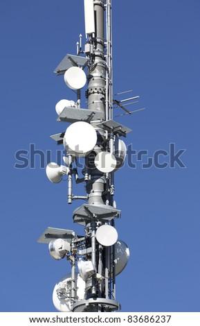 Telecommunication tower close up - stock photo