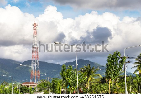 telecommunication tower in countryside - stock photo