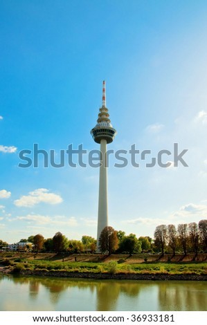 telecommunication tower in Mannheim - stock photo