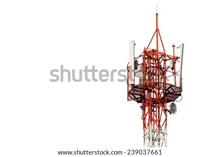 Telecommunication tower isolated on white - stock photo
