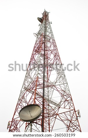 telecommunication tower isolated on white background - stock photo