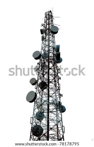 Telecommunication tower isolated on white background. - stock photo