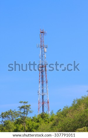 Telecommunication tower on mountian and blue sky