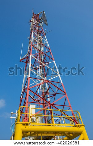 telecommunication tower with a lot of different antennas