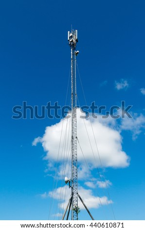 Telecommunication tower with antennas GSM mobile operator. - stock photo