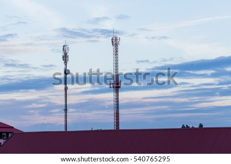 Telecommunication tower with antennas playout
