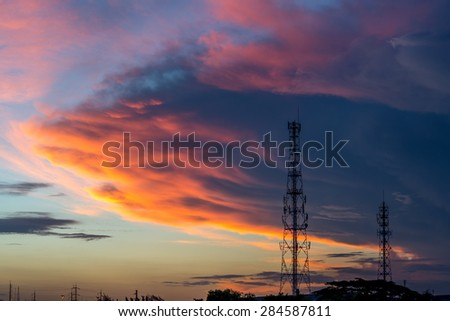 Telecommunication tower with beautiful sky background - stock photo