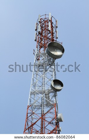Telecommunication tower with blue sky background