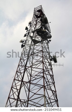 Telecommunication Tower with Boosters - stock photo