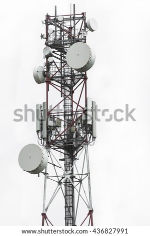 Telecommunication tower with dish and mobile antenna isolated on white background - stock photo