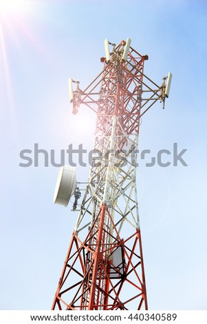 Telecommunication tower with Lens flare