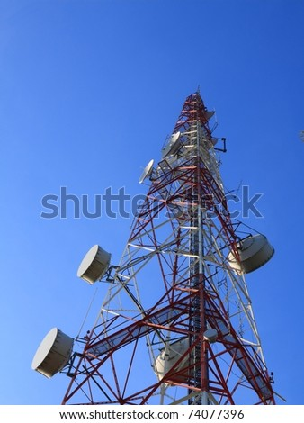 Telecommunication tower with rich blue sky