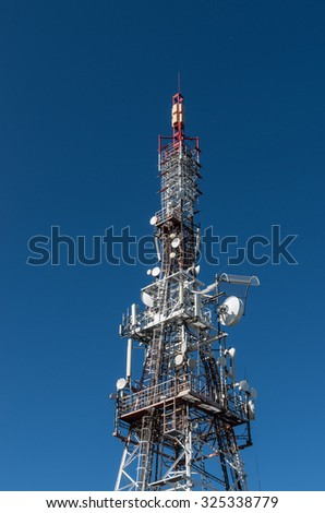 Telecommunication tower with the blue sky