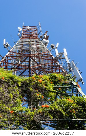 Telecommunication tower with the vertical garden in Thailand. - stock photo