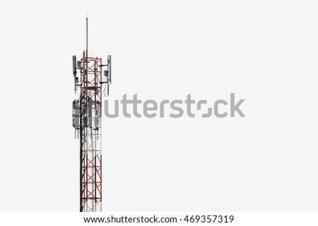 Telecommunication tower with white background with space.
