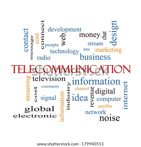 Telecommunication Word Cloud Concept with great terms such as stream, network, satellite and more.