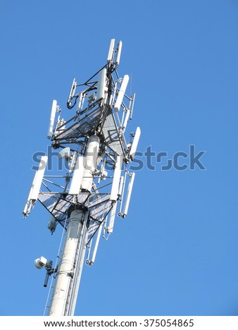 Telecommunications cell phone tower with antennas, Melbourne 2016