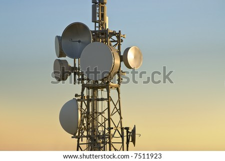 telecommunications dishes - stock photo
