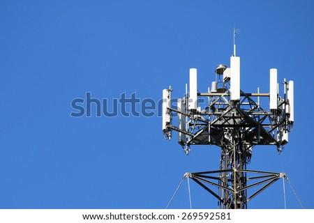 Telecommunications equipment - directional mobile phone antenna dishes. Wireless communication.   - stock photo