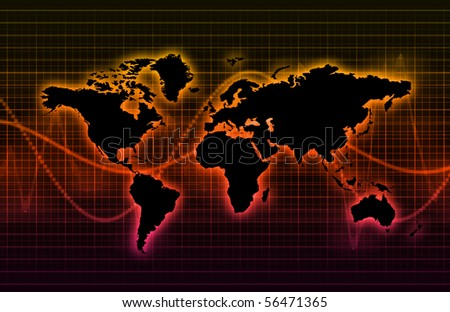 Telecommunications Industry Global Network as Art - stock photo