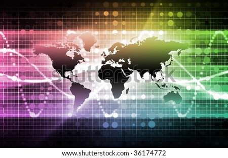 Telecommunications Industry with a Dark World Map - stock photo