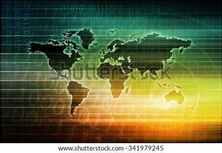Telecommunications System with World Map Data Moblity - stock photo