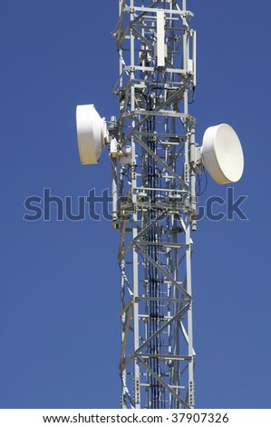 telecommunications tower and colorful sky