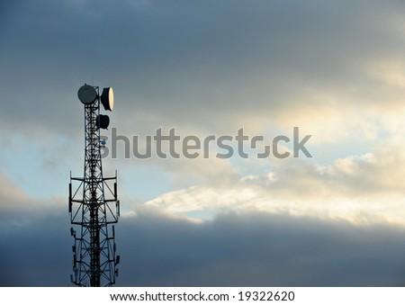 Telecommunications Tower at sunset - stock photo