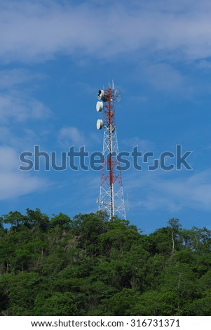 Telecommunications tower. Large transmission tower against sky broadcasting towers In mountains  Communication tower