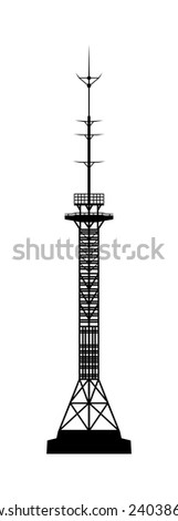 Telecommunications tower. Radio or mobile phone base station. Isolated on white background. - stock photo