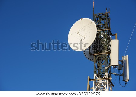 Telecommunications tower with blue sky.