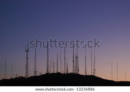 telecommunications towers at the top of a mountain in Phoenix, Arizona