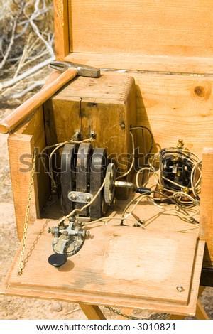 telegraph equipment on display at a civil war reenactment at Picacho Peak State Park, Arizona,March 2007 - stock photo