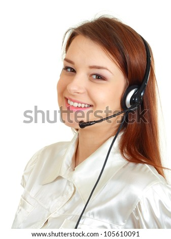 Telemarketing headset woman from call center smiling happy talking in hands free headset device. Business woman in shirt isolated on white background. - stock photo