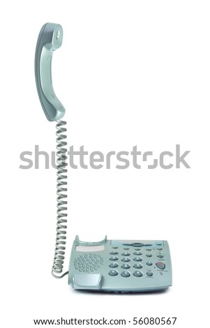 Telephone and receiver isolated on white background - stock photo