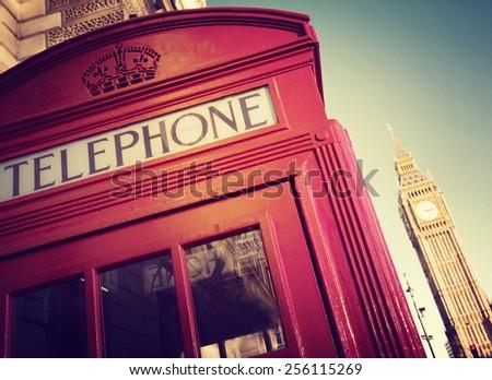 Telephone Booth Big Ben Travel Destinations Concept - stock photo