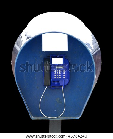 telephone booth on a black background - stock photo