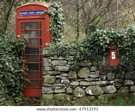 Telephone box and letter box - stock photo